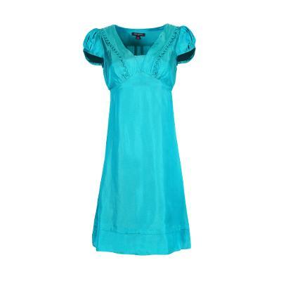 v neck puff sleeves midi dress dark green